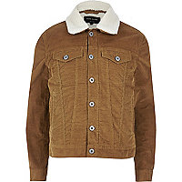 Brown borg lined corduroy jacket