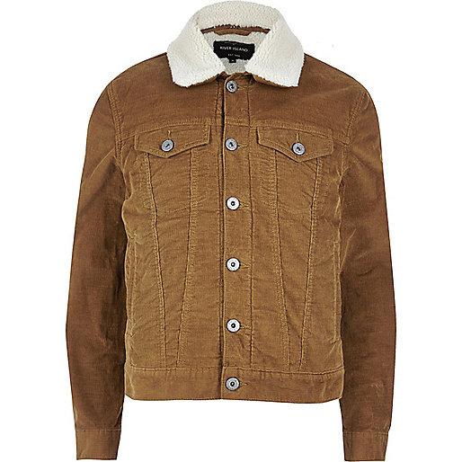 Brown borg lined corduroy jacket - Coats & Jackets