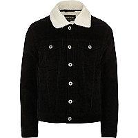 Veste noire en velours côtelé avec col imitation mouton