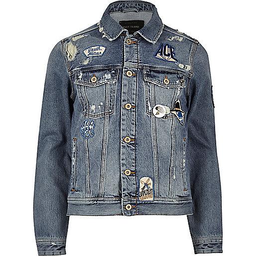 Blue wash badge western denim jacket