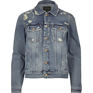 Blue wash distressed western denim jacket