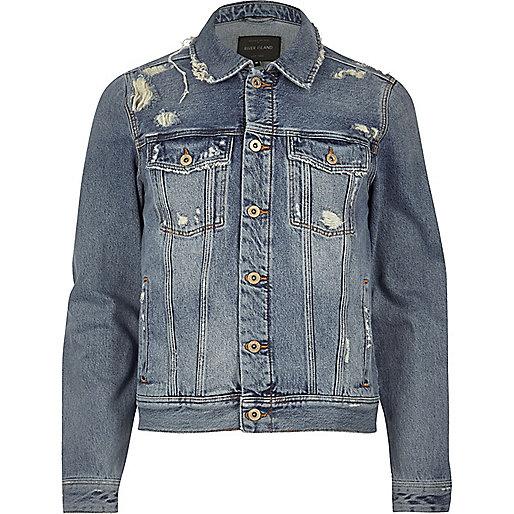 Blue wash distressed western denim jacket
