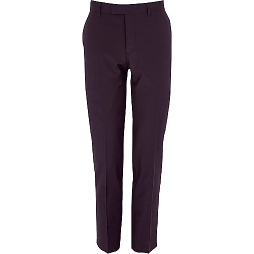 Purple skinny tux suit trousers