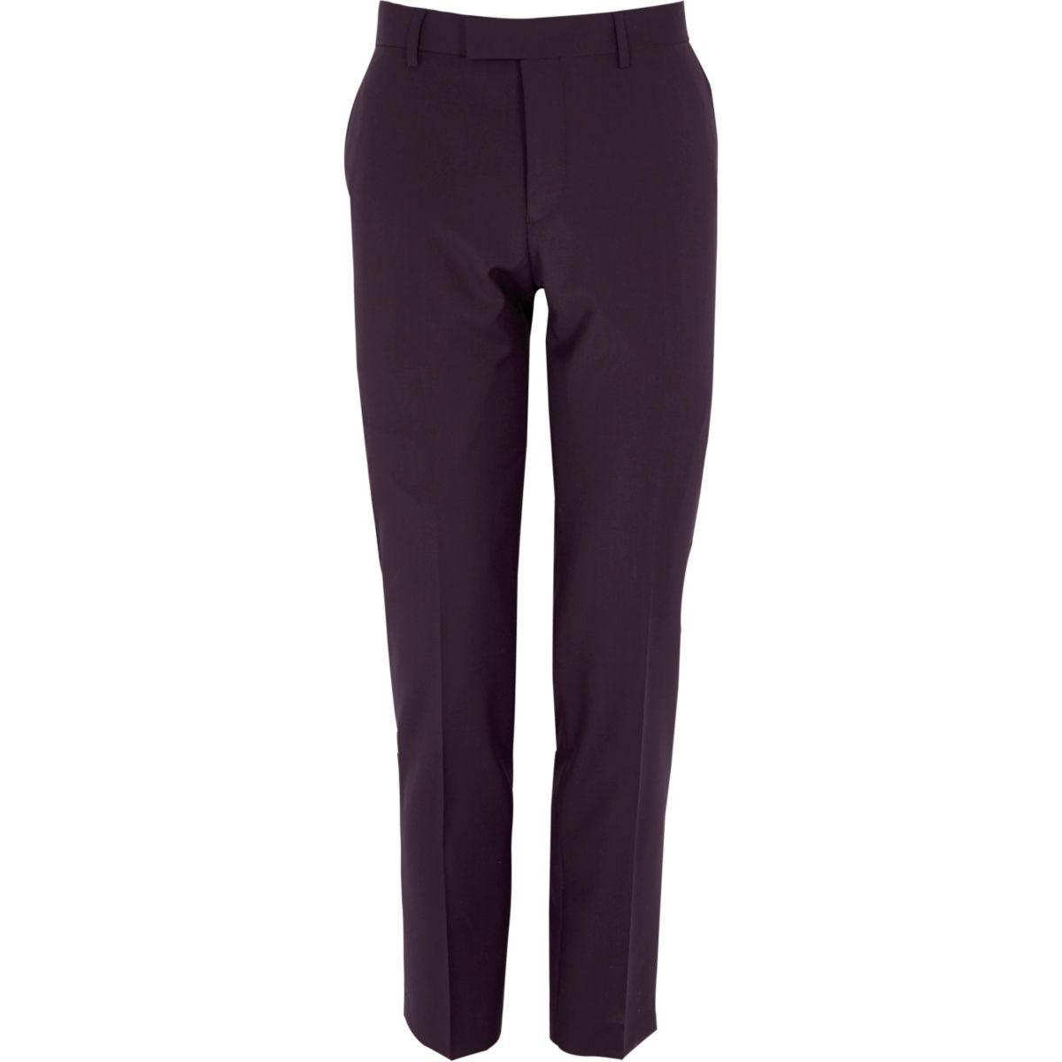 Purple skinny tux suit pants