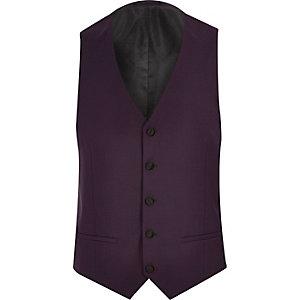 Purple slim fit tux vest