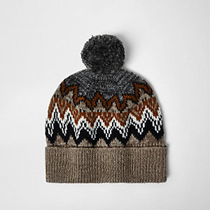 Light brown Fairisle knit bobble hat