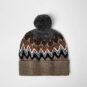 Light brown Fairisle knit bobble hat