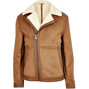 Light brown fleece lined biker jacket