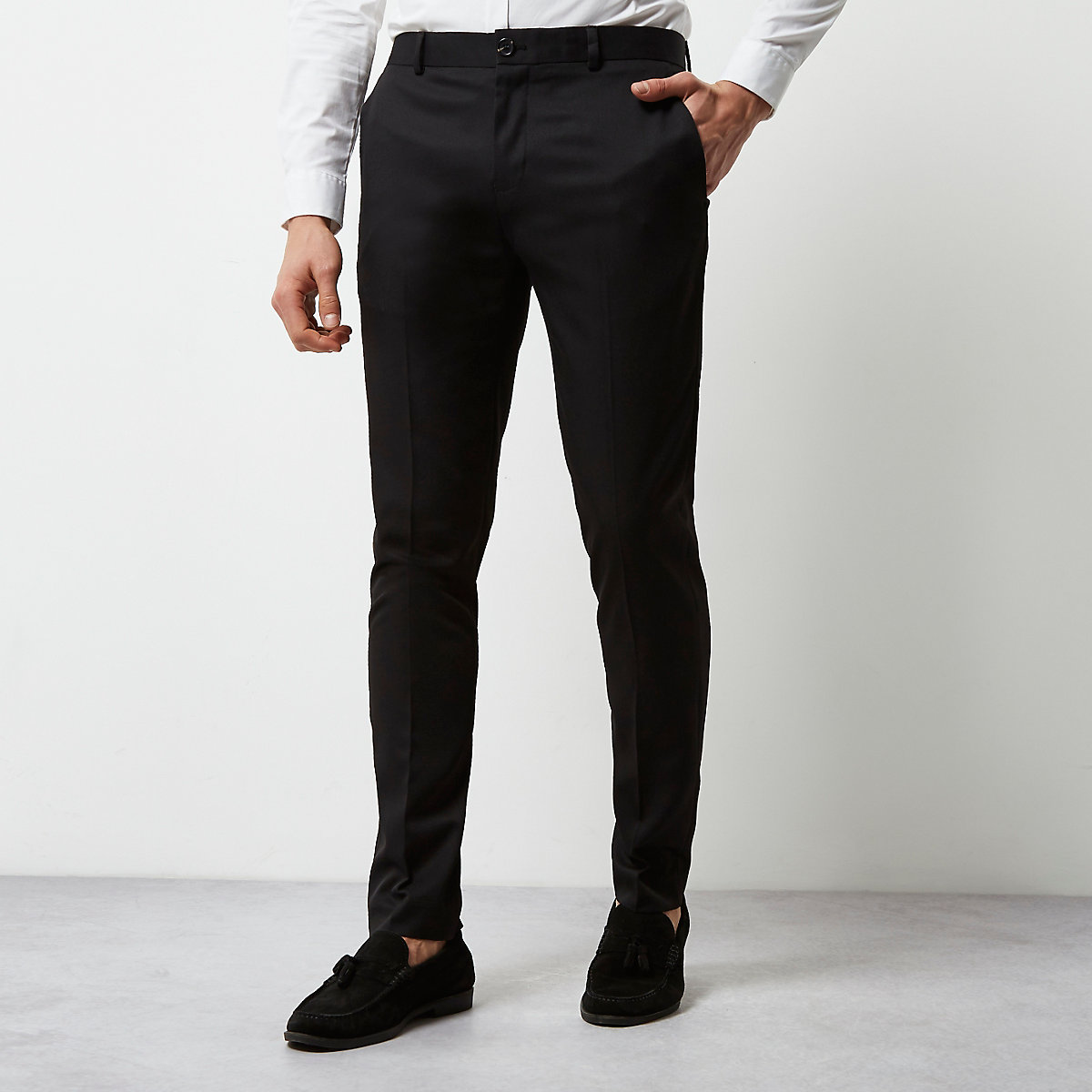 Black smart skinny fit trousers