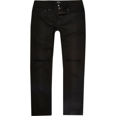 Dylan black wash ripped slim-fit jeans