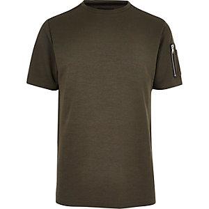 T-shirt kaki à manches zippées