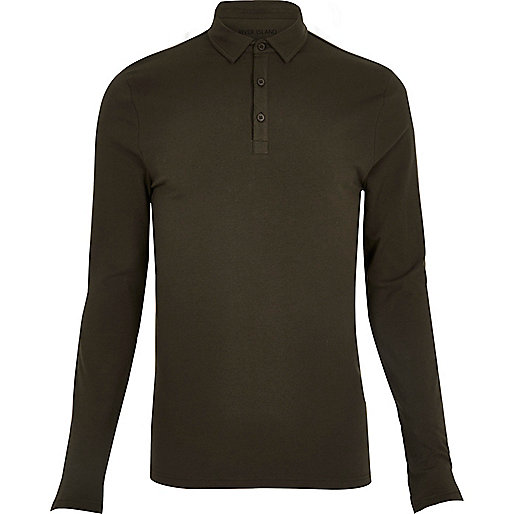 Khaki muscle fit polo top