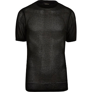 Black mesh cotton t-shirt
