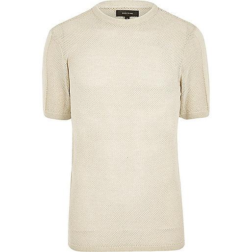 Stone mesh cotton t-shirt