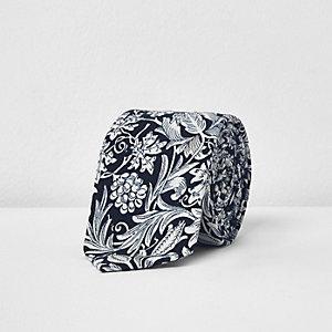 Navy floral print silk tie