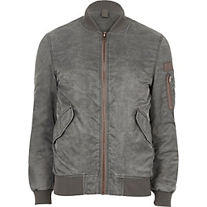 Washed grey bomber jacket