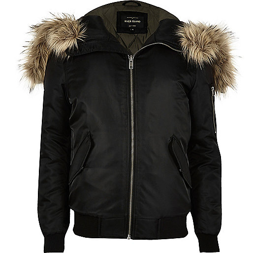 Black faux fur hooded bomber jacket - Coats / Jackets - Sale - men