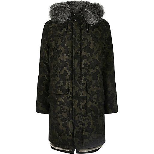 Camo faux fur trim hooded longline parka