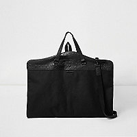 Black croc panel suit bag