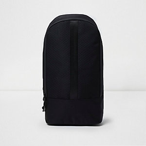 Black textured one strap backpack