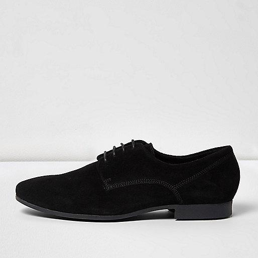 Black smart suede derby shoes
