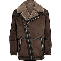Brown fleece lined biker jacket