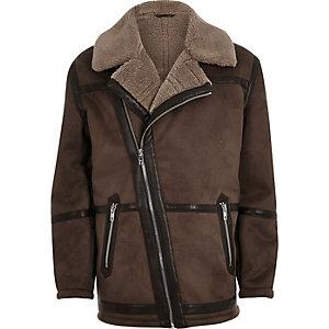 Brown fleece lined biker jacket