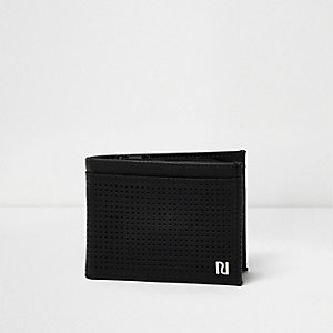 Black perforated foldout wallet