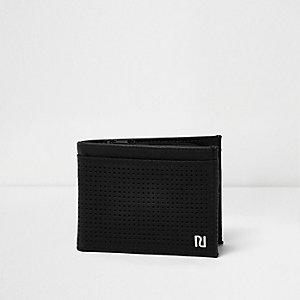Zwarte portemonnee met perforaties