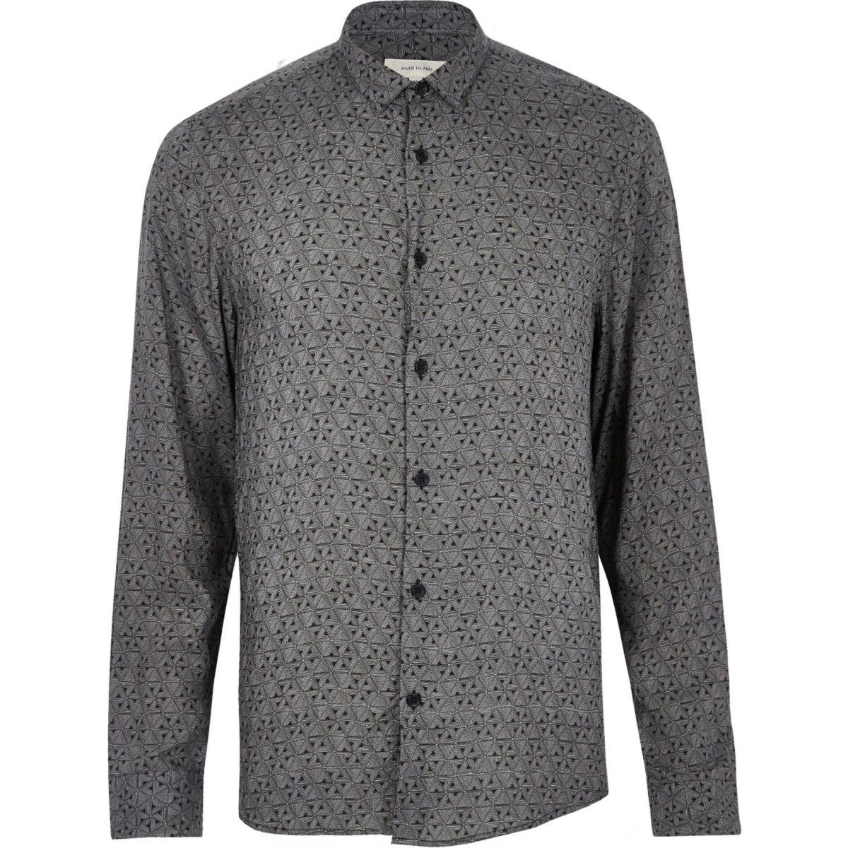 Black geo print casual shirt