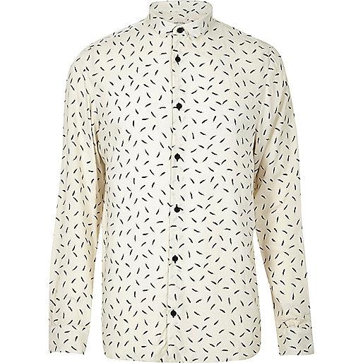 Cream feather print casual shirt