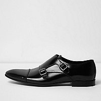 Black patent leather monk strap shoes