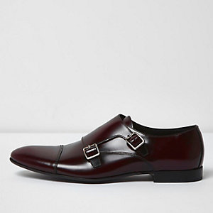 Burgundy patent leather monk strap shoes
