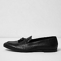 Black lizard leather tassel loafers