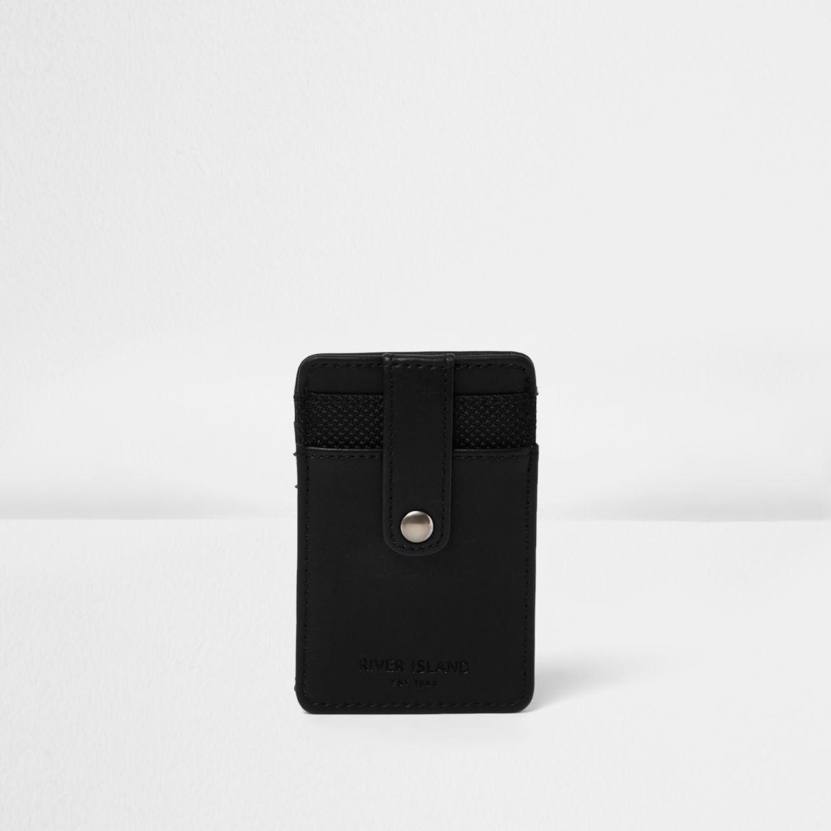 Porte-cartes noir à bouton-pression