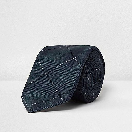 Green tartan silk tie