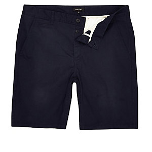 Marineblauwe slim-fit chino short