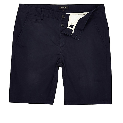 Navy slim fit chino shorts