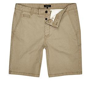 Bruine slim-fit chino short