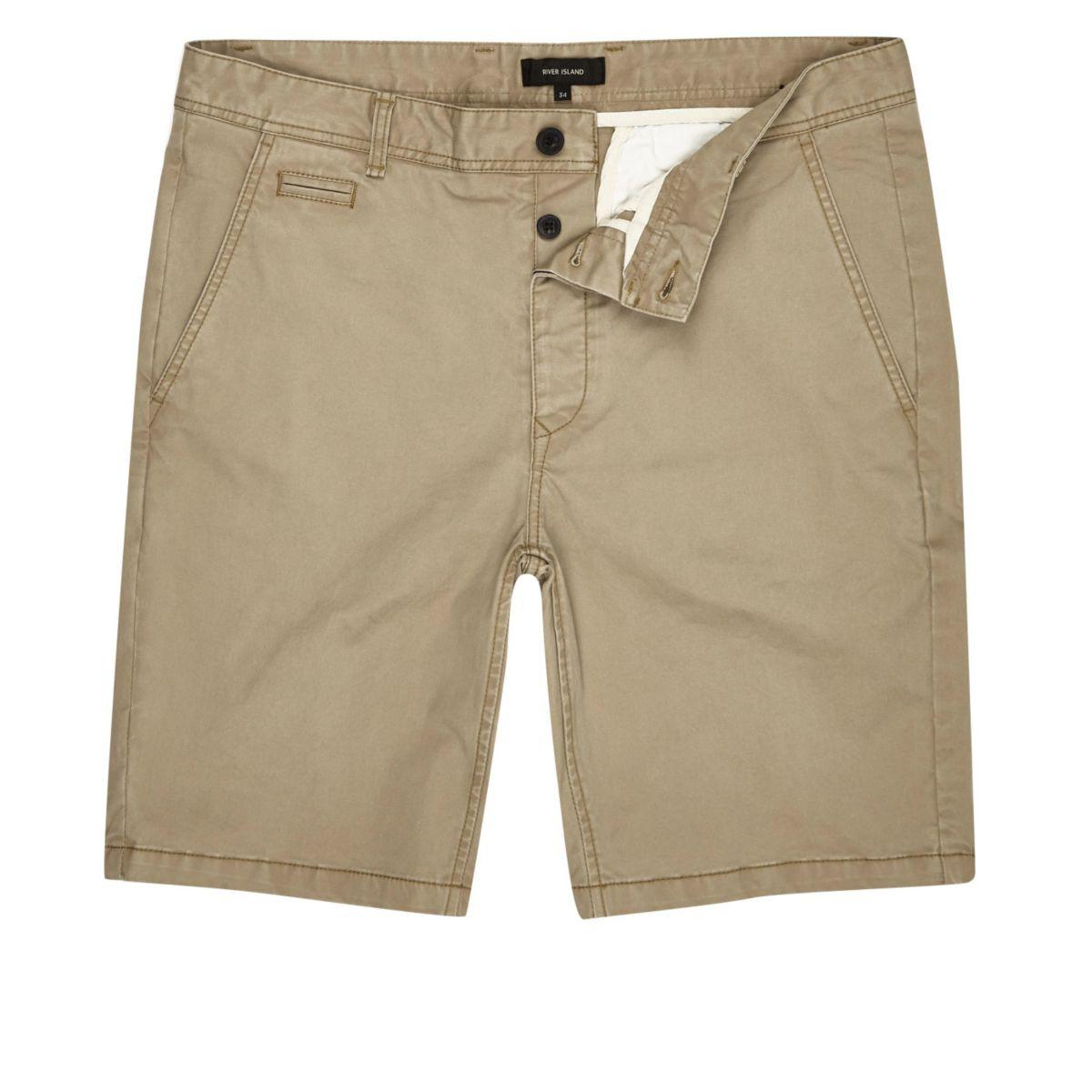 Tan slim fit chino shorts