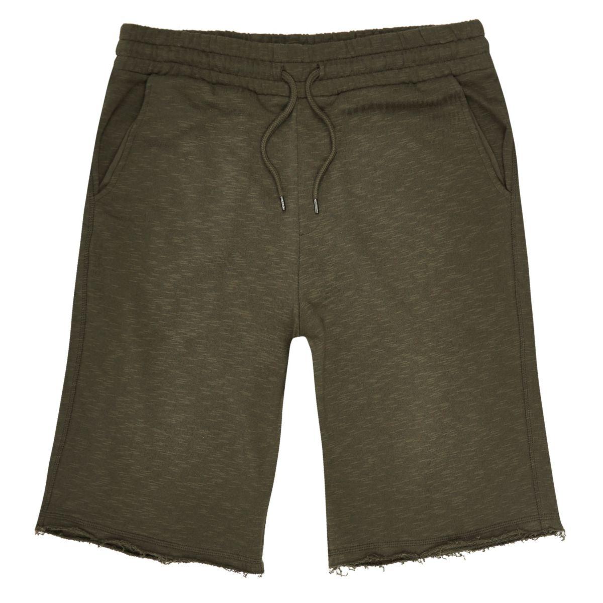 Short en coton flammé vert foncé