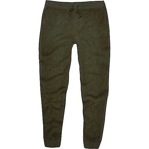 Dark green fleece joggers