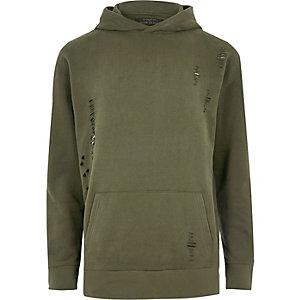 Khaki green ripped hoody