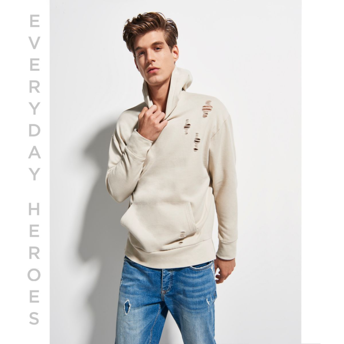 Stone distressed cotton hoodie