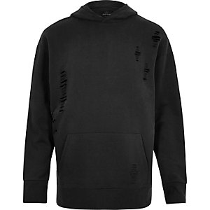 Black ripped cotton hoodie