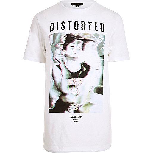 White longline glitch print T-shirt