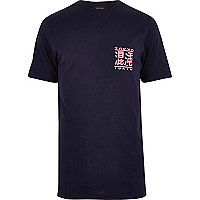 Navy Tokyo print longline T-shirt