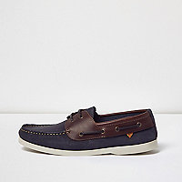 Navy dual color leather boat shoes