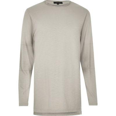 Ecru lang T-shirt met lange mouwen