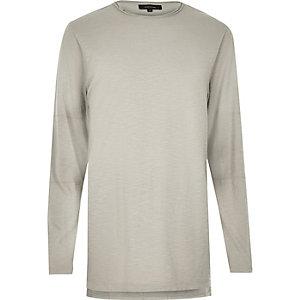 Langes T-Shirt in Ecru mit langen Ärmeln